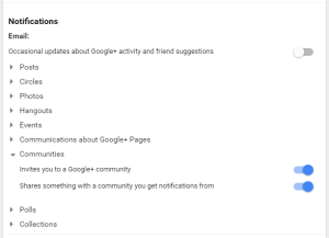 how to set google plus profile email notifications