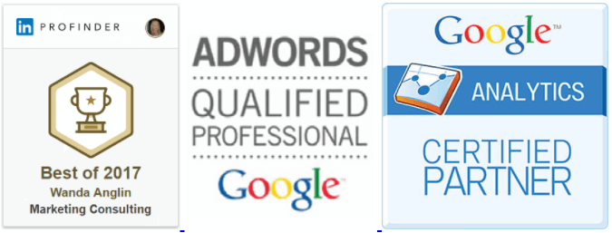 seo buzz is recognized as a linkedin profinder best of 2017 wanda anglin marketing consulting, google adwords qualified professional, and google analytics certified partner